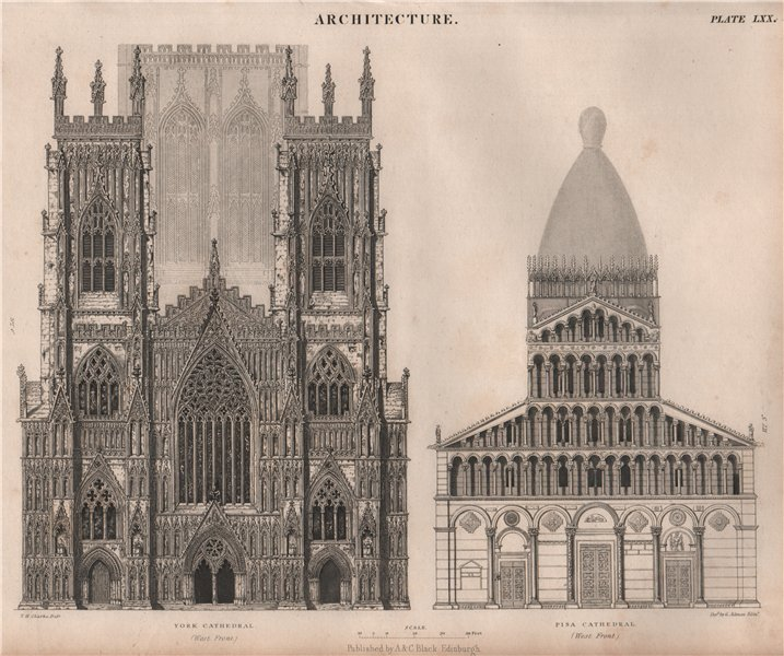 Associate Product Architecture. York Cathedral & Pisa Cathedral, west fronts. BRITANNICA 1860
