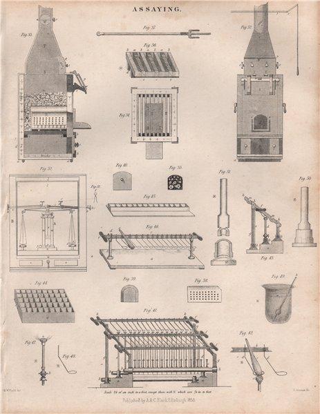 Associate Product Assaying equipment 2. BRITANNICA 1860 old antique vintage print picture