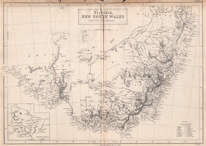 Associate Product Victoria, New South Wales & South Australia. Norfolk Island. BRITANNICA 1860 map