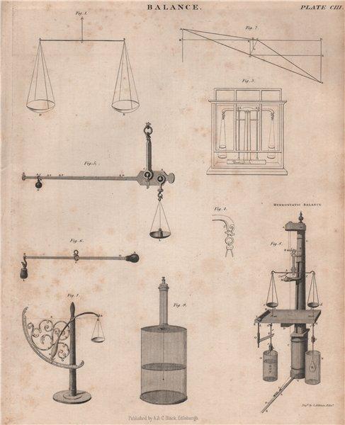 Associate Product Balance. Hydrostatic Balance. Victorian engineering. BRITANNICA 1860 old print
