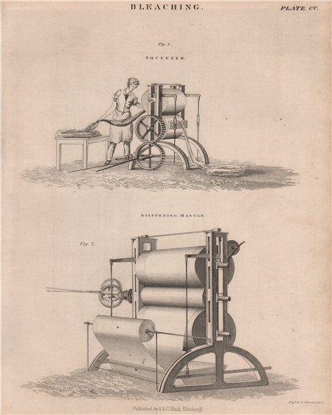Associate Product Bleaching. Squeezer; Stiffening Mangle. Victorian Engineering. BRITANNICA 1860