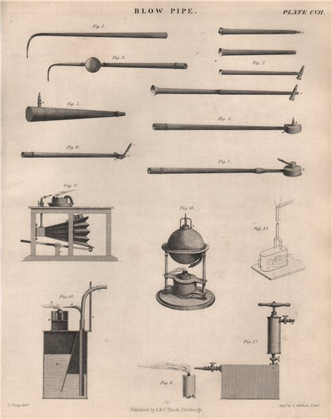 Associate Product Blow Pipe. Victorian engineering. BRITANNICA 1860 old antique print picture