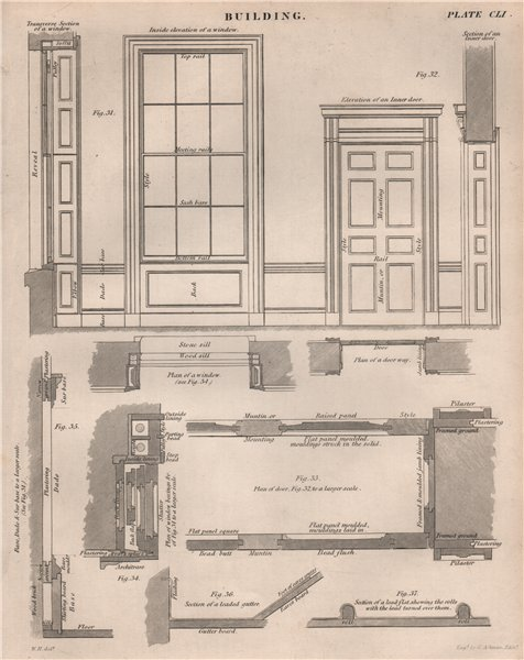 Associate Product Door and window elevations. Building. BRITANNICA 1860 old antique print