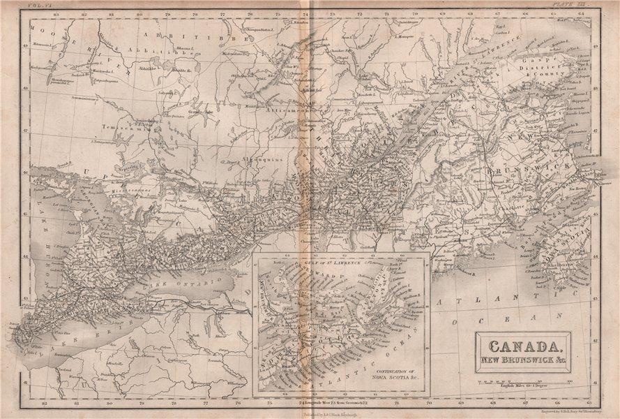 Associate Product East Canada. New Brunswick Nova Scotia. BRITANNICA 1860 old antique map chart