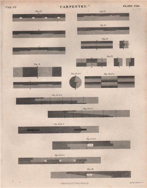 Associate Product Carpentry 3. BRITANNICA 1860 old antique vintage print picture