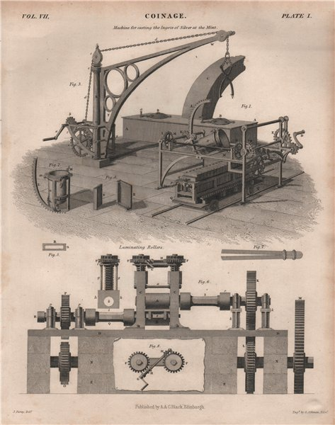 Associate Product Coinage. Machine for casting silver ingots at the Mint; Laminating Rollers 1860