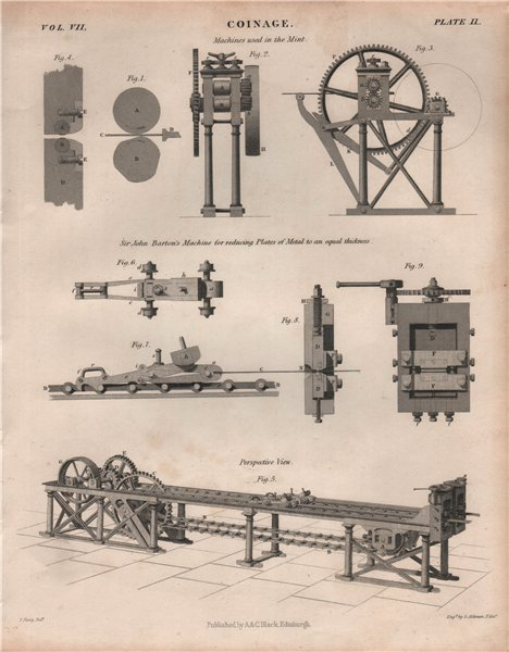 Associate Product Coinage. Machines used in the Mint. Sir John Barton's Machine. BRITANNICA 1860