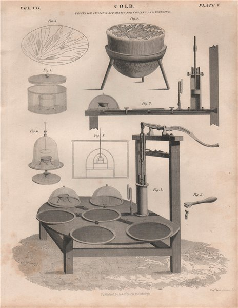 Associate Product Cold; Professor Leslie's Apparatus for cooling and freezing. BRITANNICA 1860