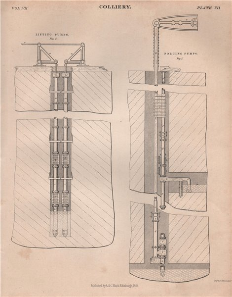 Associate Product Colliery. Forcing Pumps; Lifting Pumps. Coal mining. BRITANNICA 1860 old print
