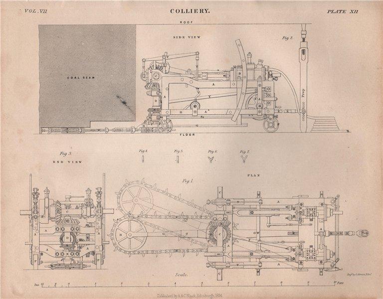 Associate Product Colliery. Coal mining cutting machinery. Shearer. BRITANNICA 1860 old print