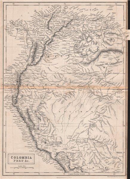 Colombia Peru New Granada Ecuador Venezuela. Andean States. BRITANNICA 1860 map
