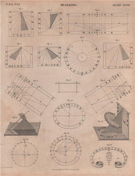 Associate Product Dialling. Sundials 3. BRITANNICA 1860 old antique vintage print picture