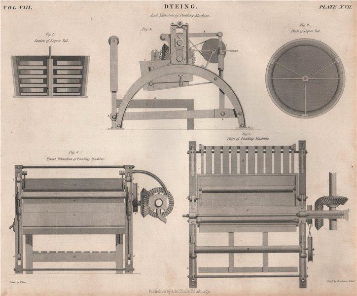 Associate Product Dyeing. Liquor Tub; padding machine. BRITANNICA 1860 old antique print picture