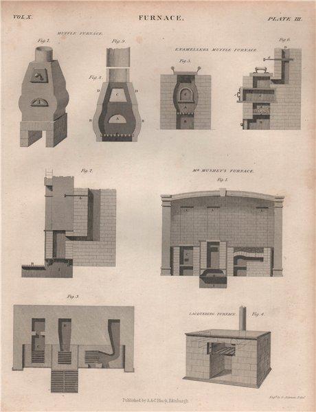 Associate Product FURNACES. Mushet's, Lacquering & Enamellers Muffle Furnaces. BRITANNICA 1860