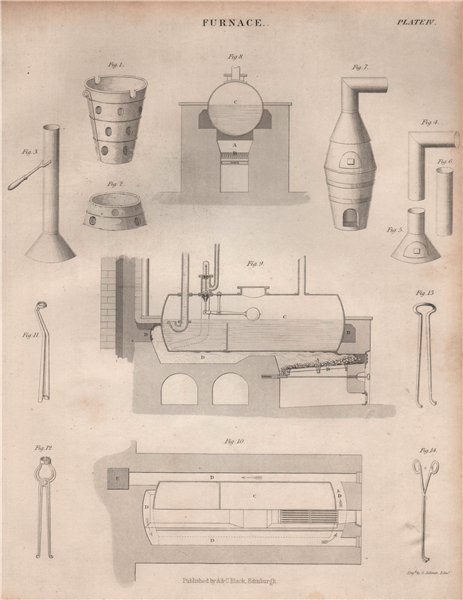 Associate Product VICTORIAN ENGINEERING DRAWING of a furnace. BRITANNICA 1860 old antique print