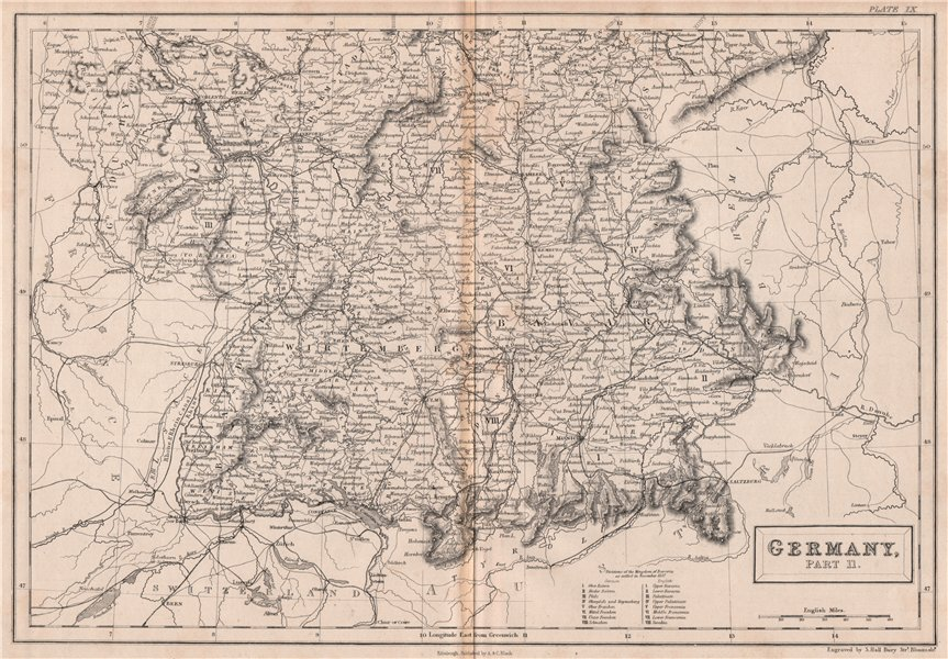 Associate Product Southern Germany. Railways. BRITANNICA 1860 old antique vintage map plan chart