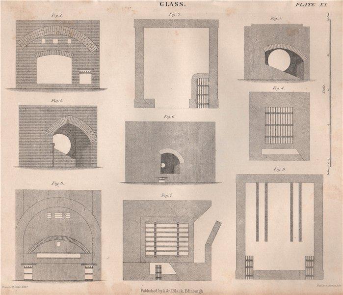 Associate Product GLASS MANUFACTURING. Glass kilns. BRITANNICA 1860 old antique print picture