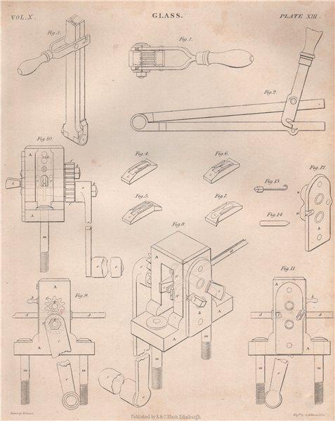 Associate Product GLASS MANUFACTURING equipment. BRITANNICA 1860 old antique print picture