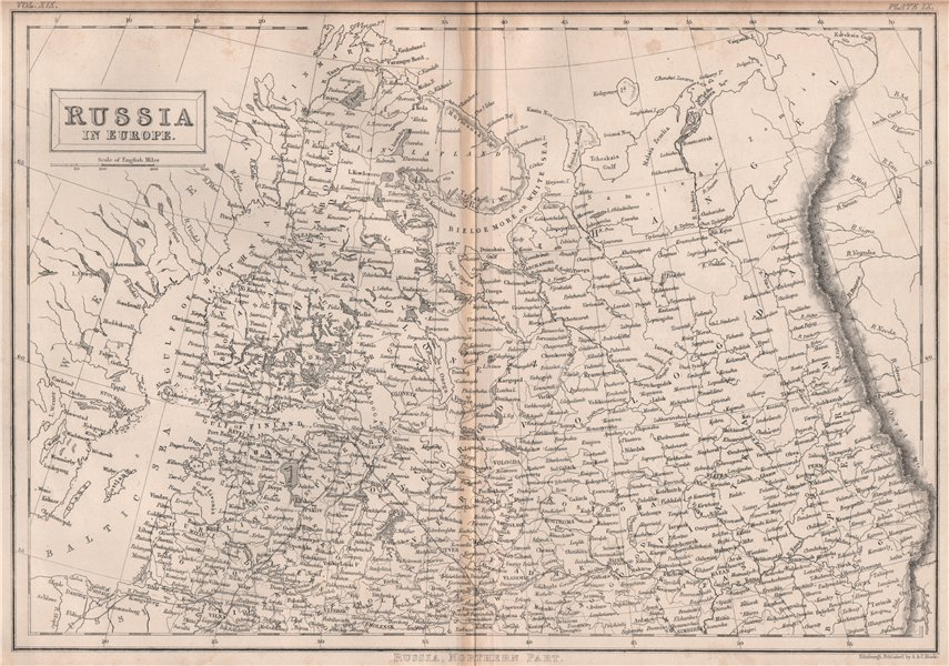 Associate Product Russia in Europe, northern part. Finland. BRITANNICA 1860 old antique map