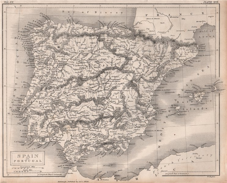 Spain and Portugal. Iberia. Railways. BRITANNICA 1860 old antique map chart