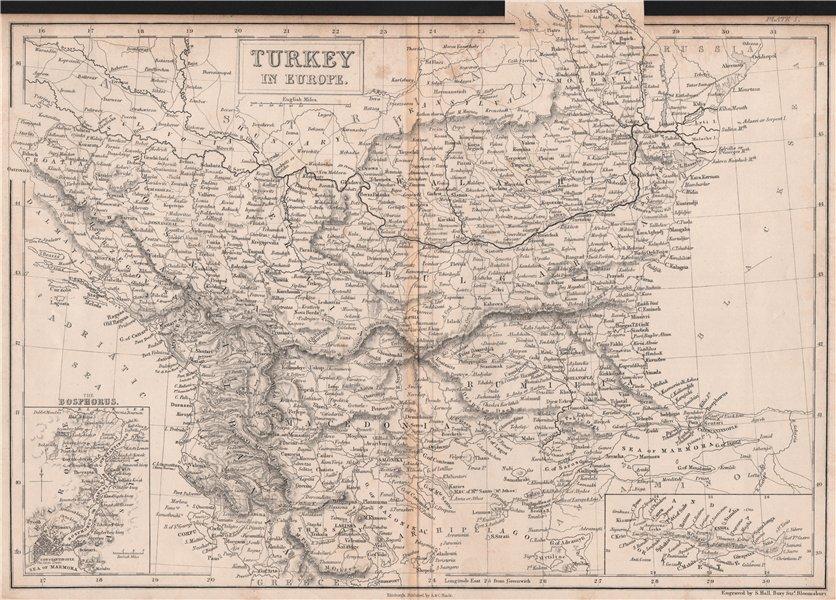 Associate Product Turkey in Europe. Balkans. Inset the Bosphorus & Crete. BRITANNICA 1860 map