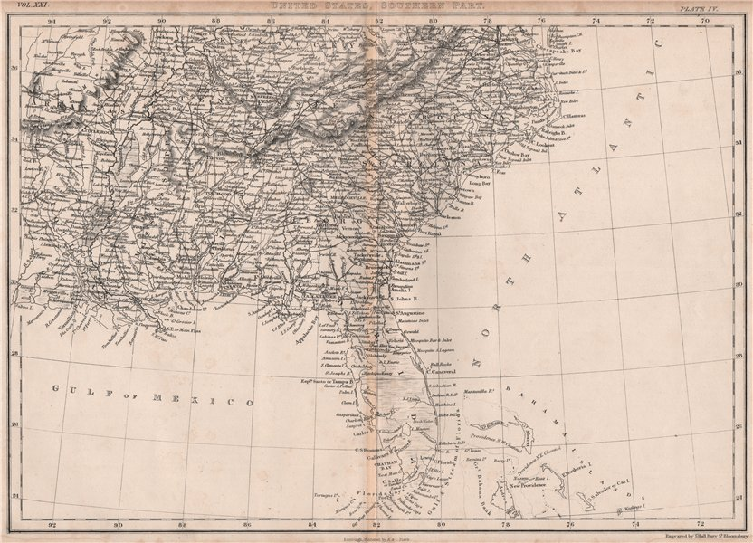 Associate Product South eastern United States. USA. BRITANNICA 1860 old antique map plan chart