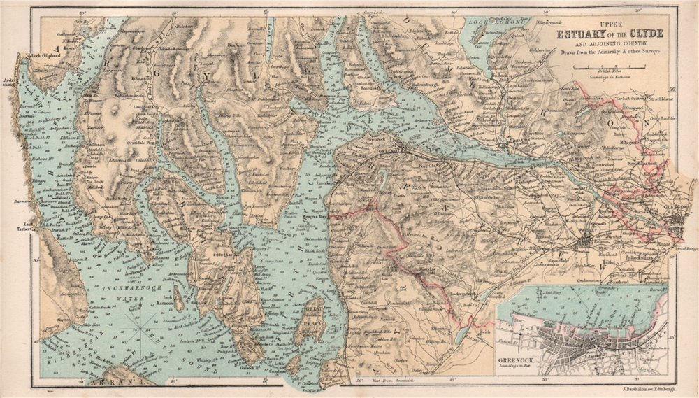 Upper Clyde Estuary. Greenock town plan. Scotland. BARTHOLOMEW 1886 old map
