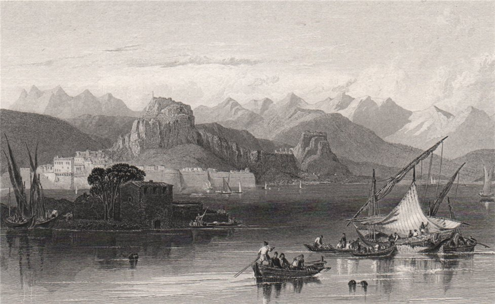 Associate Product View of Corfu town. Greece. Boats. BARTHOLOMEW 1886 old antique print picture