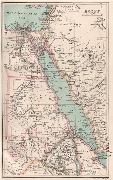 Associate Product Egypt, the Red Sea & Nubia. BARTHOLOMEW 1886 old antique map plan chart