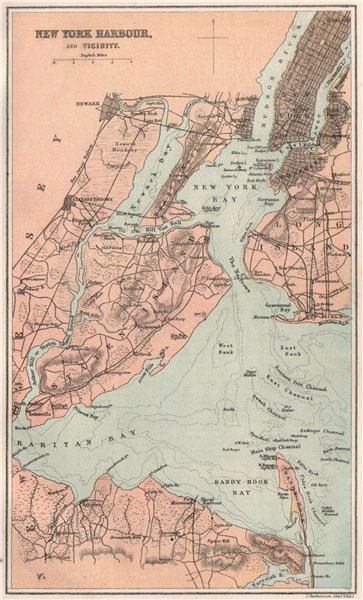 Associate Product New York Harbour and Vicinity. Manhattan. BARTHOLOMEW 1886 old antique map