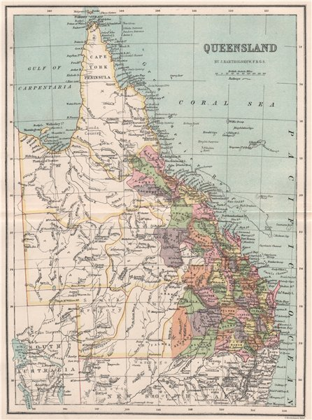Associate Product Queensland state map with counties. BARTHOLOMEW 1886 old antique chart