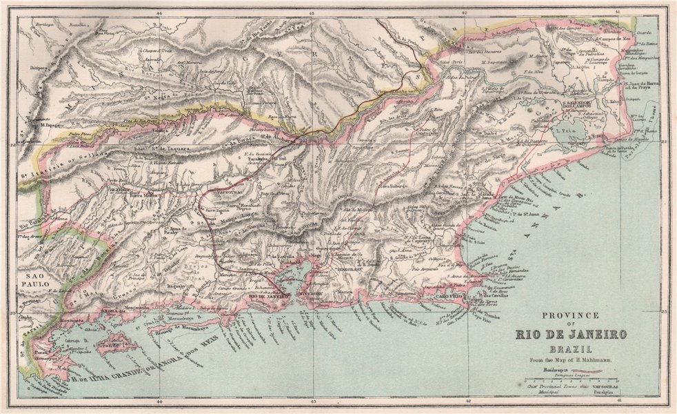 Associate Product Rio de Janeiro province, Brazil. Railways. Scale in Portuguese leagues 1886 map