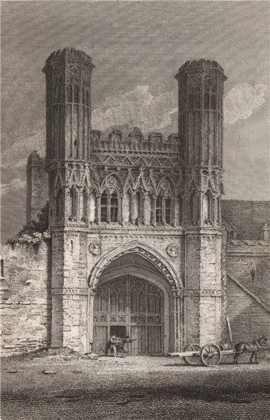 Associate Product CANTERBURY. 'St. Augustine's Gate, Canterbury, Kent'. Abbey. GOSTLING 1825