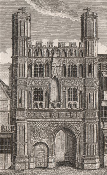 CANTERBURY CATHEDRAL. 'Christ Church Gate'. GOSTLING 1825 old antique print