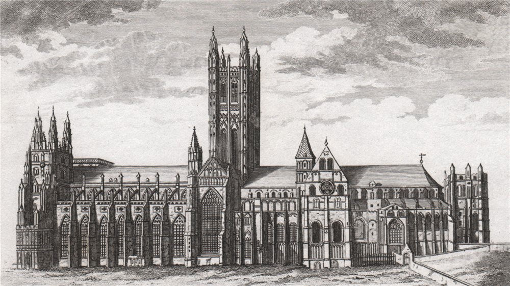Associate Product 'A south prospect of the Cathedral Church of Canterbury'. GOSTLING 1825 print