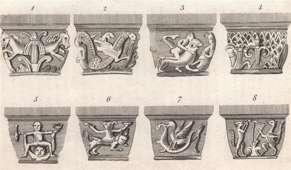 Associate Product Capitals in Grymbalds Crypt, Oxford. French Church'. GOSTLING 1825 old print