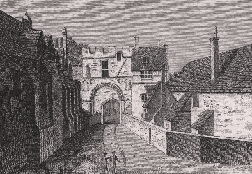 Associate Product CANTERBURY CATHEDRAL. 'Green Court Gate'. GOSTLING 1825 old antique print