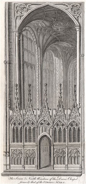 Associate Product CANTERBURY CATHEDRAL. Dean's chapel. Screen & north windows. GOSTLING 1825