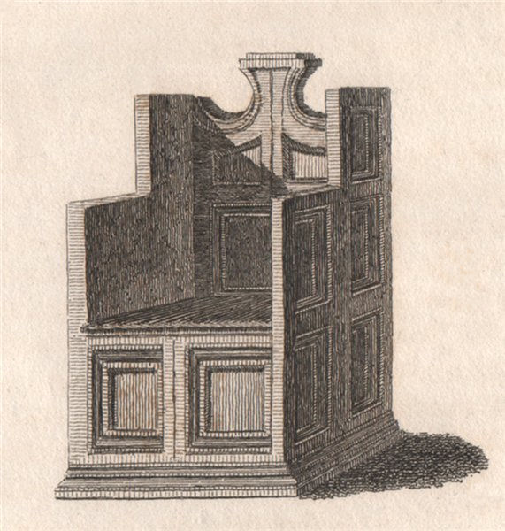 Associate Product CANTERBURY CATHEDRAL. 'Patriarchal chair'. GOSTLING 1825 old antique print