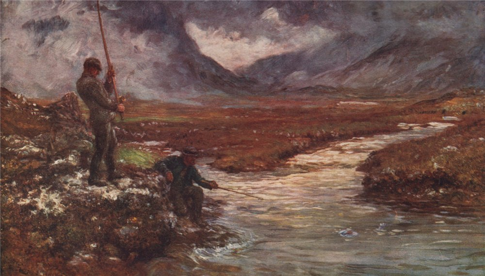 'Salmon-Fishing, Connemara' by FrancisSylvesterWalker. Ireland 1905 print