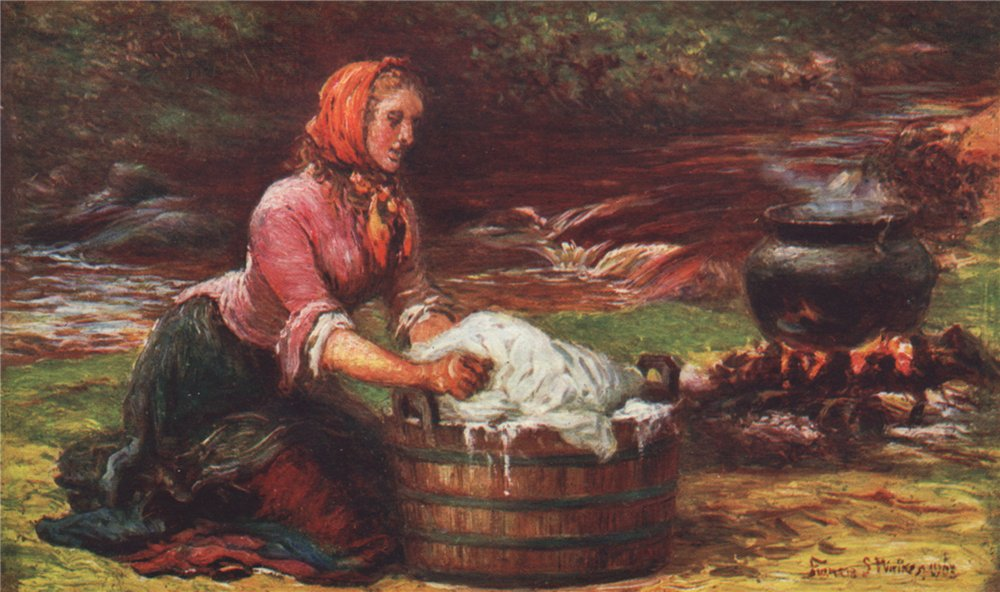 Associate Product 'Washing day in the West' by FrancisSylvesterWalker. Ireland 1905 old print
