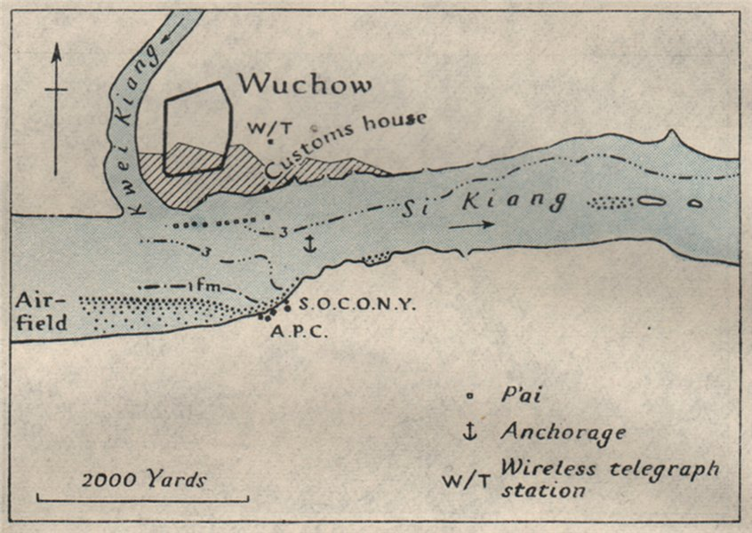 Associate Product Wuchow/WUZHOU. China. WW2 ROYAL NAVY INTELLIGENCE MAP 1945 old vintage