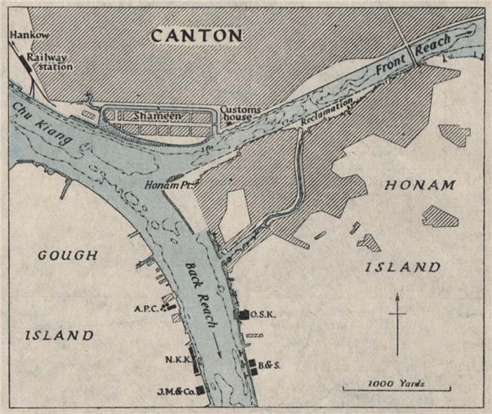 Associate Product Canton harbour. GUANGZHOU. China. WW2 ROYAL NAVY INTELLIGENCE MAP 1945 old
