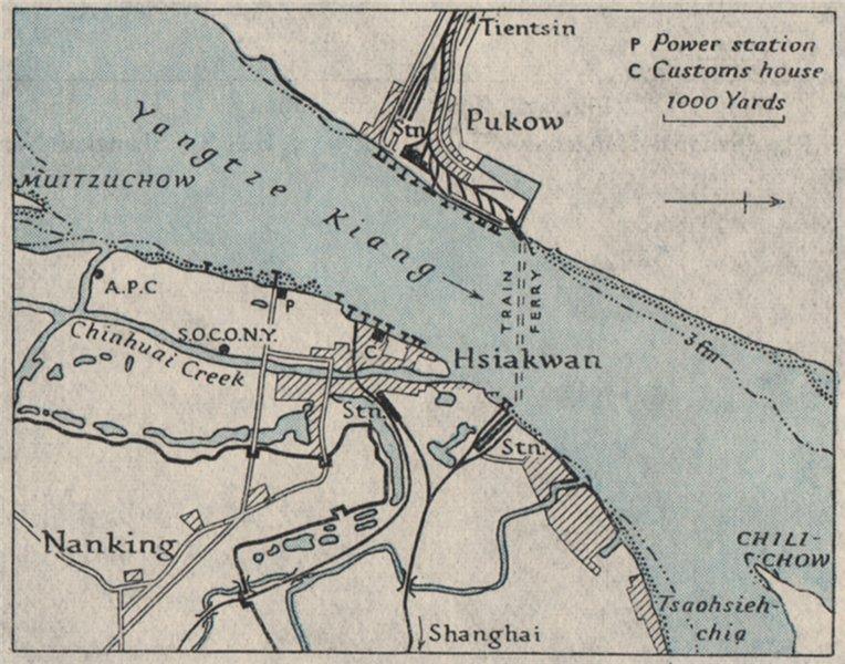 Associate Product Nanking/NANJING Pukow/Pukou Hsiakwan. China. WW2 NAVY INTELLIGENCE MAP 1945
