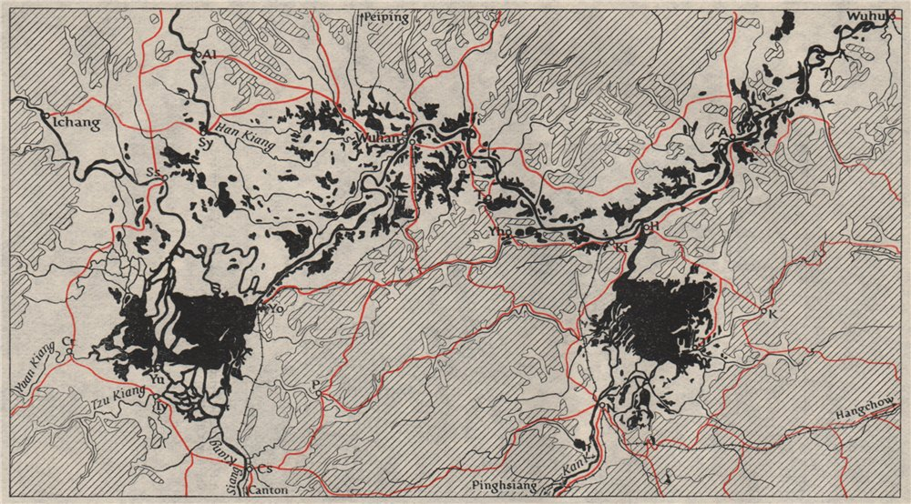 Associate Product YANGTZE RIVER, Wuhu to Yichang. China. WW2 ROYAL NAVY INTELLIGENCE MAP 1945