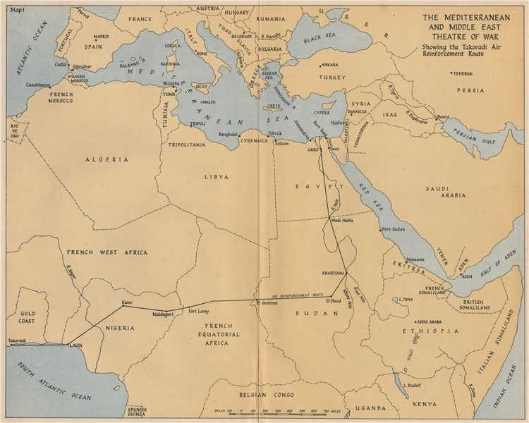 Associate Product WW2 Mediterranean/Middle East Theatre. South Atlantic Air Ferry route 1956 map