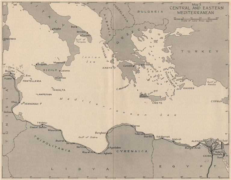 Associate Product WW2 NORTH AFRICA CAMPAIGN 1941. Central and Eastern Mediterranean 1956 old map