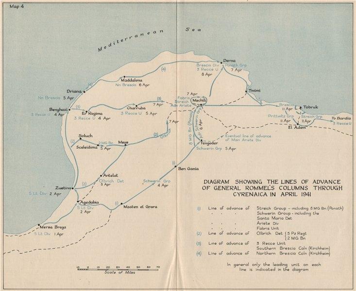 Associate Product NORTH AFRICA CAMPAIGN April 1941. Rommel's advance, Cyrenaica. Libya 1956 map
