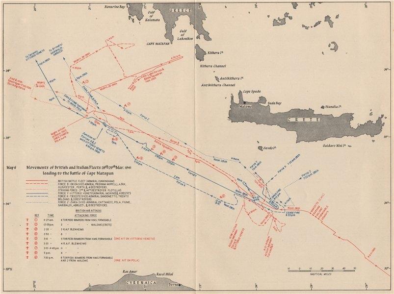 Associate Product BATTLE OF CAPE MATAPAN. British/Italian fleet movements 28-29 Mar. 1941 1956 map