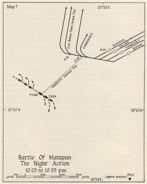 Associate Product BATTLE OF CAPE MATAPAN 1941. Night action 10.25 to 10.35pm. Greece 1956 map